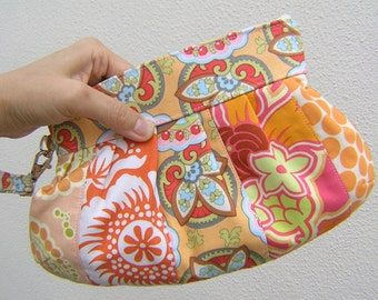Janbag wristlet orange, patchwork,cotton,pocket, pleated bag,  Tangerine/star flowers top, sale