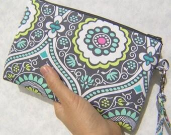 WEDDING CLUTCH 2 pockets, medium,yellow,blue,cotton,discount plan,wristlet - Treasure box Charcoal