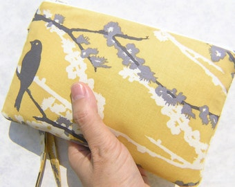Wedding Clutch,2 pockets gift pouch, medium, yellow, wristlet,discount plan,bridesmaid clutch gift - Sparrow in vintage yellow