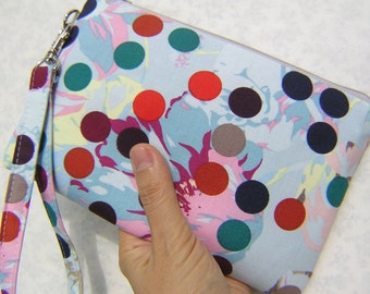 GIFT POUCH 2 pockets, bridesmaid clutch,medium,sky blue,wristlet, makeup pouch  - Colors Dots Singing Fores