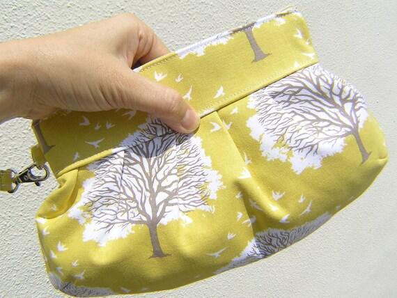 Janbag Wristlet, handmade, bridesmaids bag, bridal, diaper bag, bride - Majestic oak sunglow