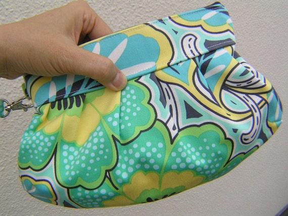 Janbag Wristlet, handmade, gift pouch, bridal, bridesmaids bag - Floral couture charcoal