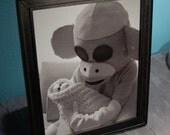 Sockmonkey and Baby Photo Print