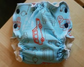 Size SMALL trucks Print Fattycakes Fitted Diaper