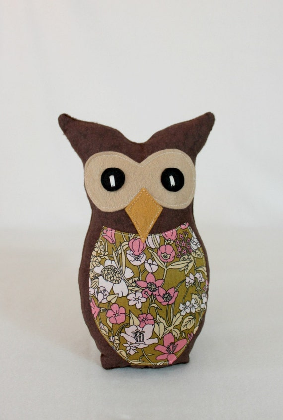 Madeline the Owl Soft Plush Toy - 100% organic cotton fabric by Julia Rothman