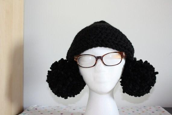 Black PomPom Hat with Giant Pompoms