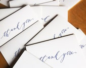 15-pack mega-deal Calligraphy royal blue Thank You letterpress cards - emprint
