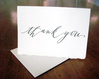 5-pack Calligraphy Thank You letterpress cards