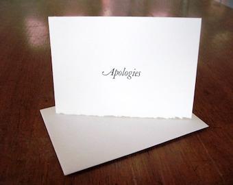 Apologies letterpress notecard