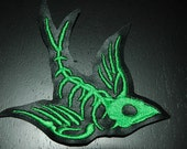 Neon Green Swallow Skeleton vinyl patches set of 2 free shipping