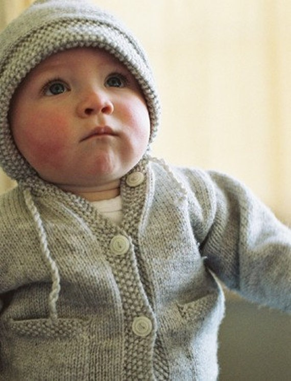 PDF Knitting Pattern for Hooded Cardigan