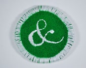 Fresh Spinach Ampersand Patch - Hand Dyed, Hand Felted, Hand Stitched
