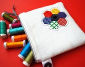 Linen Patchwork Pouch - Primary Hexagons