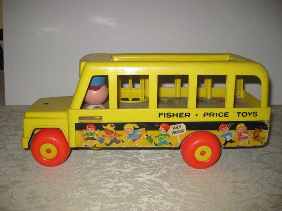 vintage 1965 fisher price little people school bus toy by famarey. Black Bedroom Furniture Sets. Home Design Ideas