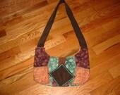 Brown Green And Orange Tribal Leaves Shoulder Bag or Purse