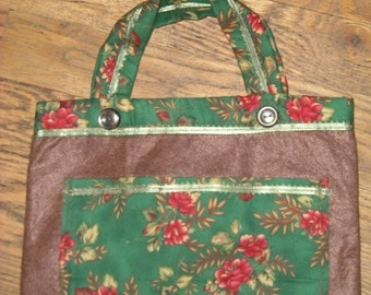 One Of A Kind Green Brown Red Flowers Small Purse or Shopping Bag