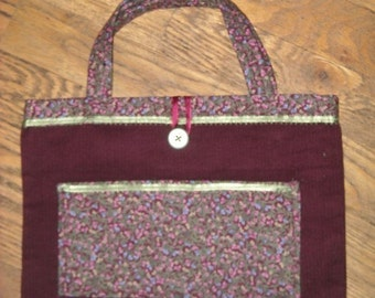 One Of A Kind Wine and Sage Green Flowers Small Shopping Bag or Purse