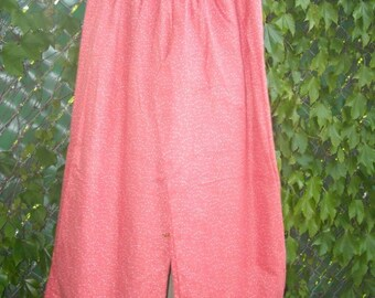 100 percent Cotton Coral Polka Dot Flannel Lounge Palazzo Wide Leg Pants M or L