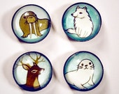 ARCTIC ANIMALS magnet set by boygirlparty, set of 4, walrus deer fox seal