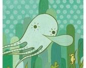 OCTOPUS ART, octopus illustration, squid art, squid illustration, octopus art print, cute octopus drawing, octopus print, bathroom print