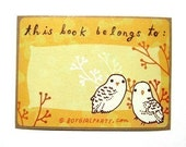 """Owl """"This Book Belongs To"""" label sticker ex libris set - owl book labels library bookplates"""