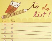 To Do LIST notepad Owl LIST pad by boygirlparty, yellow owl note pad office checklist