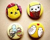 Cute ANIMAL buttons (set of 4) by boygirlparty - yellow animal pin badge - kawaii cute - cat owl octopus