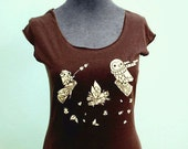 CAMPFIRE OWL ladies shirt by boygirlparty - chocolate brown, cute fitted scoop neck tank - owls roasting marshmallows autumn