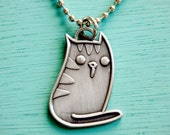 KITTY necklace CAT NECKLACE by boygirlparty - kawaii cat necklace cute cat necklace metal cat jewelry cats meow necklace kitty cat