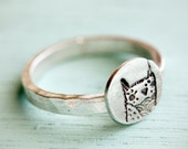 silver OWL RING - eco friendly sterling silver jewelry - circle owl artwork - stacking ring