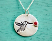Silver HUMMINGBIRD NECKLACE (with ruby cubic zirconia) -- original sterling silver bird necklace