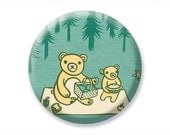 Compact Mirror Robin's Egg Blue Teddy Bear's Picnic Pocket Mirror - Circle Hand Mirror Cute Bear Illustration - boygirlparty