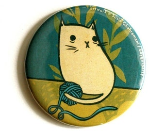 YARN CAT pocket mirror - handmade gift for her - mirror for cosmetic bag, purse mirror, best friend gift, gift for knitters - gift for her