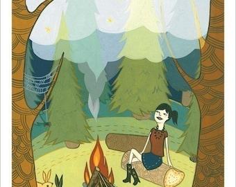 CAMPING art print campfire artwork / campfire girls / happy camper art print teen girl wall art