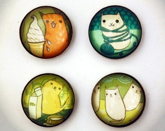 CAT magnet set by boygirlparty, cute cats kittens fridge magnets
