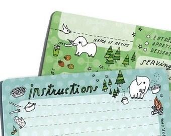 4x6 RECIPE CARDS Set of 10 - cute elephant recipe card for potluck hostess housewarming gifts