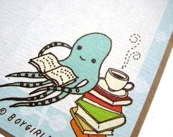 """Octopus BOOK LABELS (set of 6 book stickers) - book lover gift - squid library reading bookplates ex libris exlibris """"from the library of"""""""