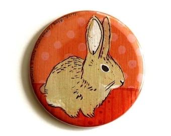 Handmade Bunny Accessories - Bunny Rabbit Mirror - Compact Pocket Mirror Pink Bunny Purse Mirror