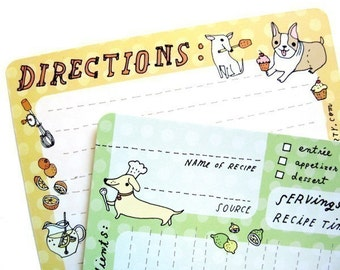 """Dog Recipe Cards Set, 4x6"""" recipe cards, cute recipe card set, animal recipe cards, printed recipe cards, dog lover gift kitchen gift ideas"""