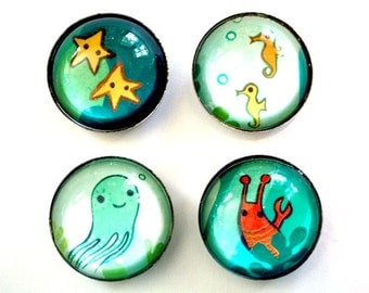 boygirlparty glass magnets ocean animal art, lobster magnet, ocean home decor, seaside decor, fridge magnet set, ocean beach decor san diego