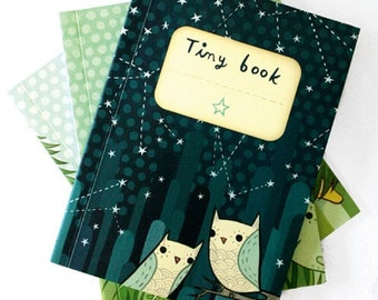 Cute Journals - LAND / AIR / WATER journals - set of 3 stocking stuffers - by boygirlparty - mini notebook - bear, owl, octopus tiny books