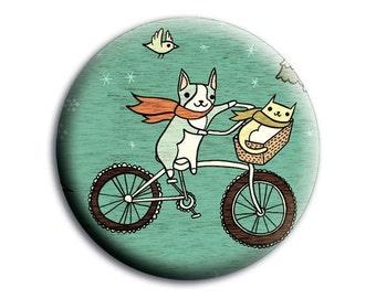 Mirror - Bike Animals Pocket Mirror Hand Mirror - Cute Cat Dog Bicycle Artwork Compact Mirror Favor