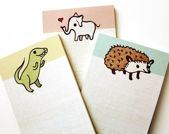 ANIMAL NOTEPAD SET by boygirlparty, set of 3 kawaii note pads, hedgehog elephant t-rex dinosaur