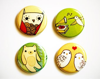 Button SET - Animal Button pinback buttons, boygirlparty badges - badge bomb button badge - cute illustration collectible badges