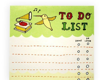 Hummingbird TO DO LIST notepad - coworker gift office gifts coworker stocking stuffer, to do list notepad to do list pad