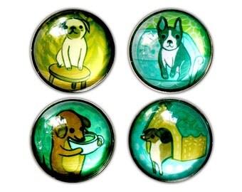 Glass DOG MAGNETS - puppy pet fridge magnets - dachshund boston terrier retriever pug - turquoise green