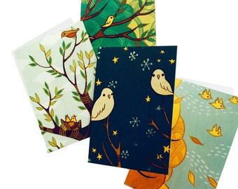 FOUR SEASONS cards, four seasons art notecards seasonal cards, all occasion cards, susie ghahremani boygirlparty blank notecards small cards