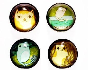 CAT Magnet Set - Cute magnet cat magnet cat gift - cat fridge magnets - cat refrigerator magnets, cat housewarming gift cat kitchen decor