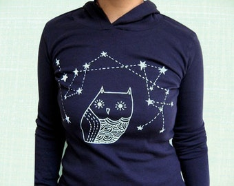 OWL HOODIE women hoodies owl shirt long sleeve navy blue - ladies clothing owl constellation