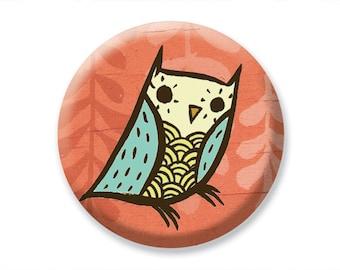 Compact Mirror Pocket Mirror Retro Red Owl Illustration Thank You Gift Owl Mirror Hand Mirror